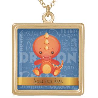 Custom Cartoon Year of the Dragon Word Art Necklaces
