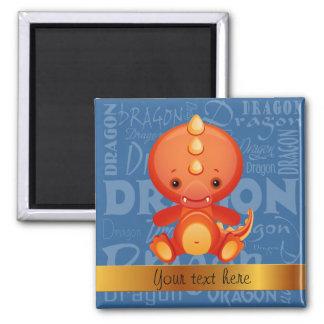 Custom Cartoon Year of the Dragon Word Art Square Magnet