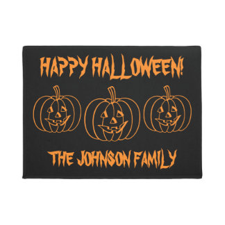 Custom carved pumpkin head Halloween door mat