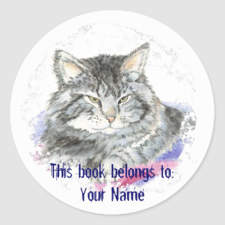 Custom Cat - Book Plate Classic Round Sticker