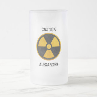 Custom Caution Nuclear Reactor Yellow and Black Frosted Glass Beer Mug