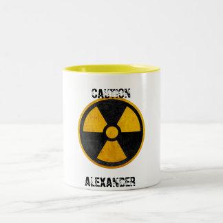 Custom Caution Nuclear Reactor Yellow and Black Two-Tone Coffee Mug