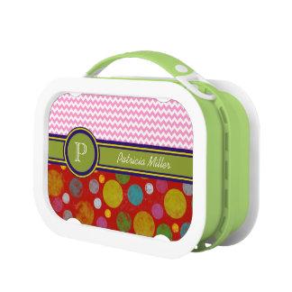 custom chevron / polka dots / monogram lunch box