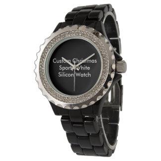 Custom Christmas Rhinestone Black Enamel Watch