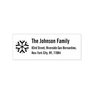 Custom Christmas Snowflake Holiday Return Address Rubber Stamp