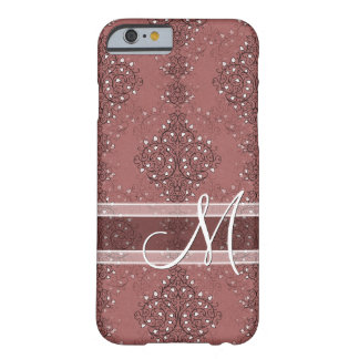 Custom Classic Monogram Chic Floral Damask Pattern Barely There iPhone 6 Case