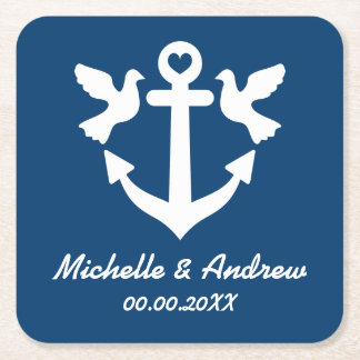 Custom coasters for nautical theme wedding party