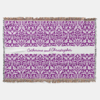 Custom Color Damask Pattern with Name A09 PURPLE Throw Blanket