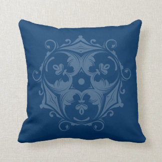 Custom Color Decorative Trifoil Prussian Blue Throw Cushions