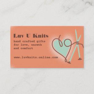 Hand knitted business cards zazzle nz custom colour yarn heart knitting needles knitter business card colourmoves