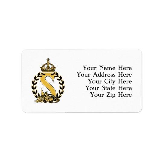 Custom Crown Monogram - S Address Label