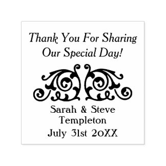 Custom Decal Wedding Thank You Rubber Stamp