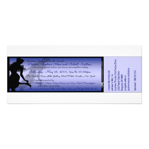Custom Dinner, Fashion Show and Silent Auction Personalized Announcement