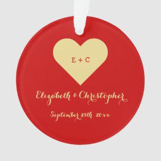Custom DIY Mr Mrs Wedding Name Date Heart Monogram Ornament