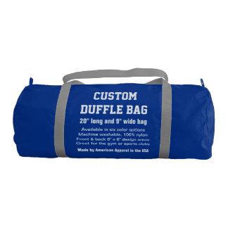"""Custom Duffle Bag BLUE Gym, Sports, Club 20"""" x 9"""""""