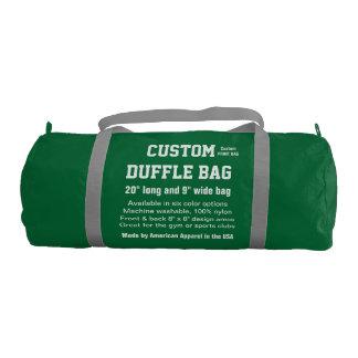 """Custom Duffle Bag GREEN Gym, Sports, Club 20"""" x 9"""""""