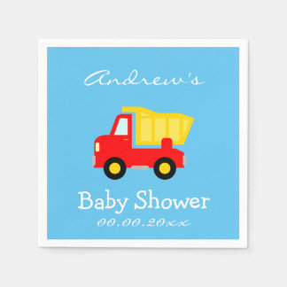 Custom dump truck baby shower napkins for boy paper napkin