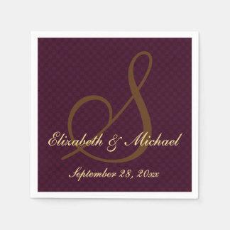 Custom Elegant Monogram Wedding Party Paper Napkin