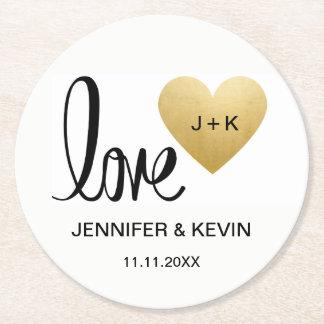 Custom Elegant White Gold Monogram Heart Wedding Round Paper Coaster