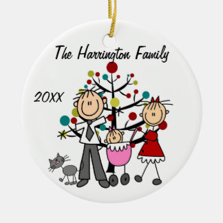 Custom Family Parents, Baby Girl, Cat Ornament