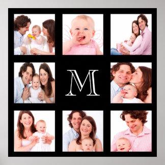 Custom Family Photo Collage Monogram Posters