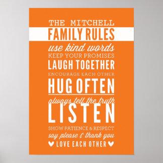 CUSTOM FAMILY RULES modern typography bold orange Poster
