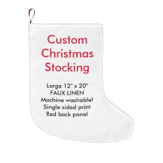 "Custom Faux Linen Christmas Stocking 12x20"" 1-side"