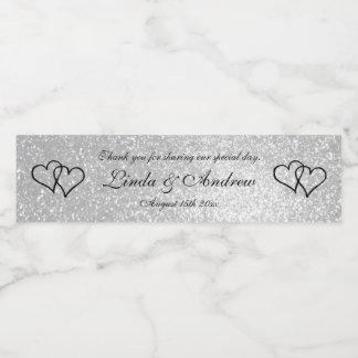 Custom faux silver glitter wedding party favour water bottle label