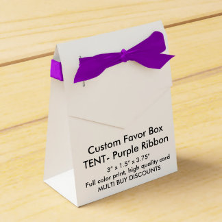 "Custom Favor Box - TENT Purple Ribbon 3""x1.5x3.75"" Party Favour Box"