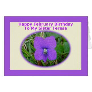 Custom February Birthday Card For Teresa