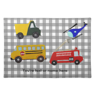 Custom fire, sand truck, school bus and helicopter placemat