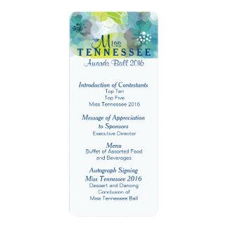 "Custom Floral Pageant Awards Ball Program Card 2 4"" X 9.25"" Invitation Card"