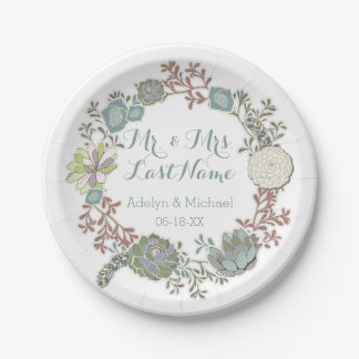 Custom Floral Succulent Wedding Paper Plates 7 Inch Paper Plate
