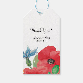 Custom Floral Wedding  Thank You Favour Gift Tags