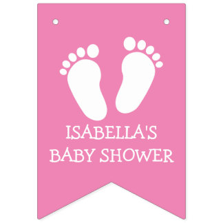 Custom footprint baby shower party bunting banner