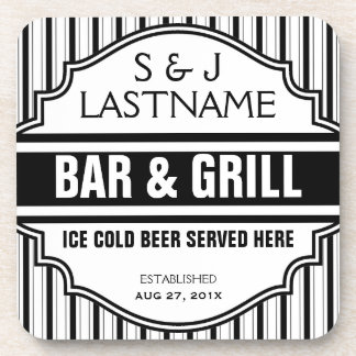 Custom Funny Married Couple Bar  Grille Sign Drink Coaster