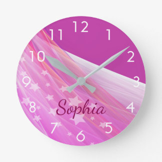 Custom girly feminine purple chiffon with name round clock