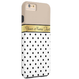 Custom Gold Name Milk Coffee White Black PolkaDots Tough iPhone 6 Plus Case