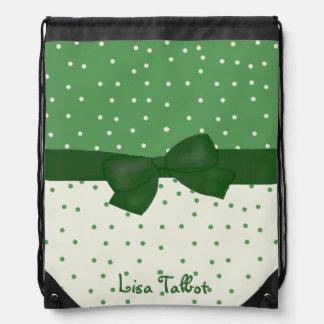 Custom Green & White Polka Dot Backpack