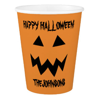 Custom Halloween party orange pumpkin paper cups