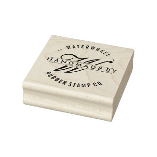 "Custom ""Handmade By"" with Monogram Rubber Stamp"