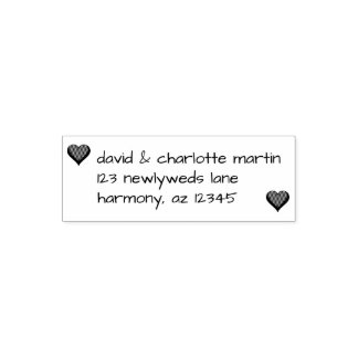 Custom Hearts Couple | Wedding Return Address Self-inking Stamp