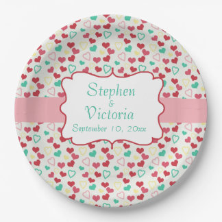 Custom Hearts Monogram Wedding Paper Plates 9 Inch Paper Plate