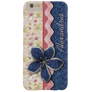 Custom Hip Denim Jeans Cute Pastel Floral Pattern Barely There iPhone 6 Plus Case