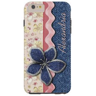 Custom Hip Denim Jeans Cute Pastel Floral Pattern Tough iPhone 6 Plus Case