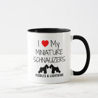 Custom I Love My Two Miniature Schnauzers Mug