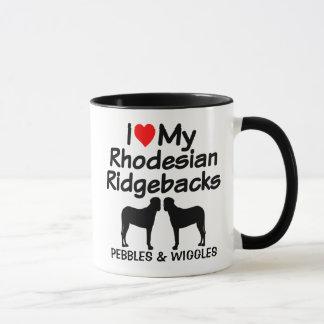 Custom I Love My Two Rhodesian Ridgeback Dogs Mug