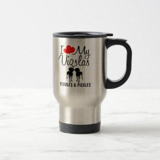 Custom I Love My Two Vizslas Mug