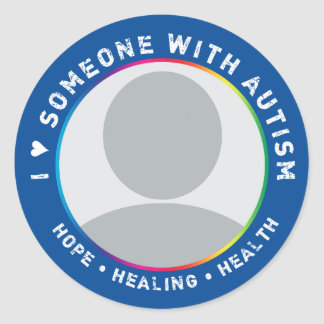CUSTOM I LOVE SOMEONE WITH AUTISM (VERSION 2) CLASSIC ROUND STICKER