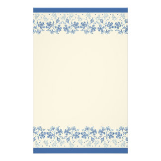 Custom Indigo Blue Floral Border Stationery